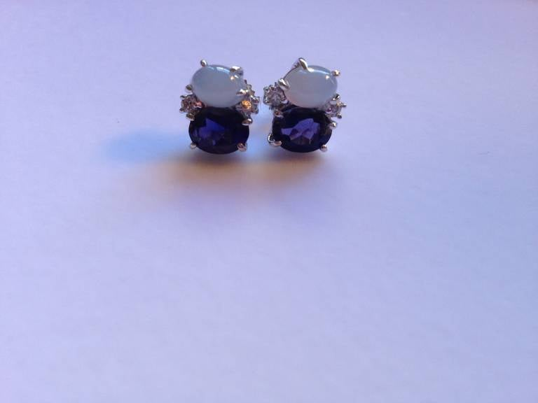 Mini Mini GUM DROP™ Earrings with Cabochon Chalcedony and Iolite and Diamonds 2