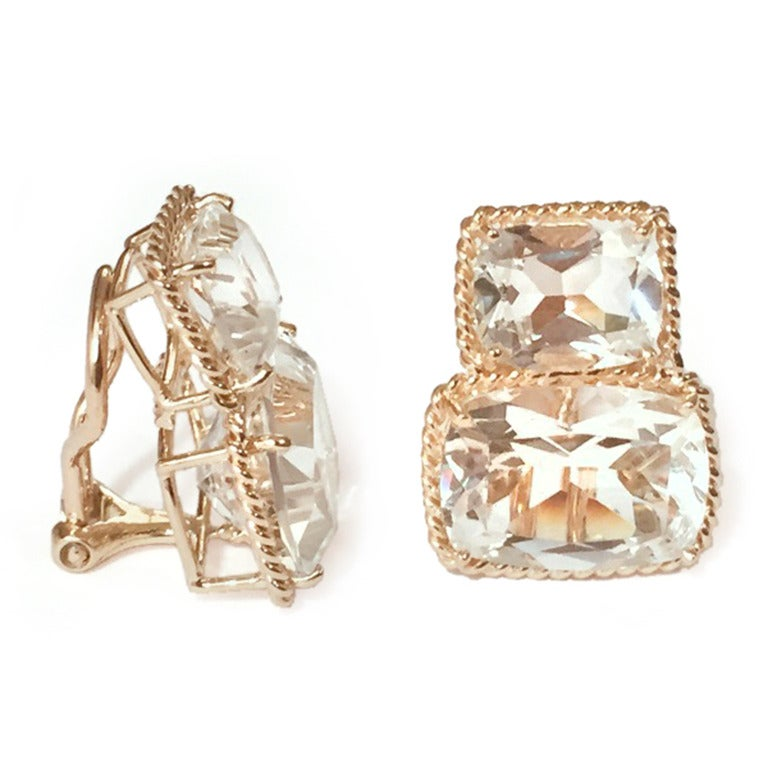 """Elegant 18kt Yellow Gold Rope Twist Border two stone Earring with faceted Rock Crystal. This is a classic day to evening earring that can be made clip or pierced.  The meaning measures 3/4' tall and 1/2"""" wide.  The Rope twist Border Earring"""