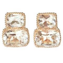 Rock Crystal Gold Rope Twist Border Earrings - medium size
