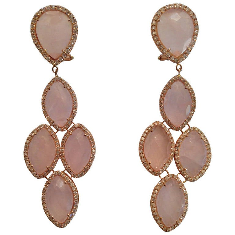 Rose Quartz Diamond Rose Gold Chandelier Earring