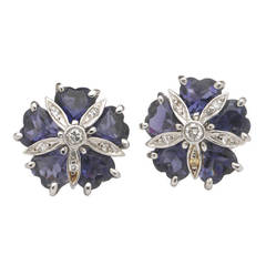 White Gold Mini Sand Dollar Earrings With Iolite And Diamonds