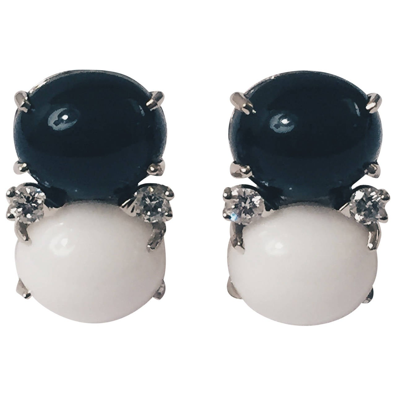 Medium GUM DROP™ Earrings with Onyx and White Jade and Diamonds 1