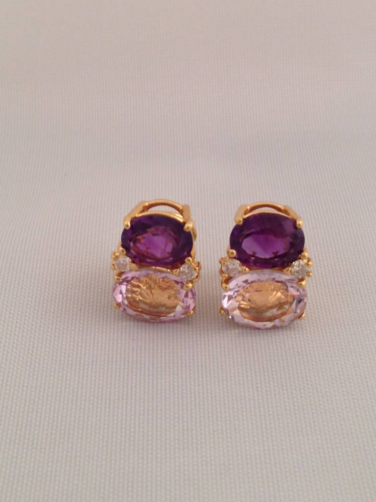 Medium 18kt Yellow Gold GUM DROP™ earrings with Pale Amethyst (approximately 2.5 cts each), Amethyst (approximately 5 cts each), and 4 diamonds weighing 0.40 cts.