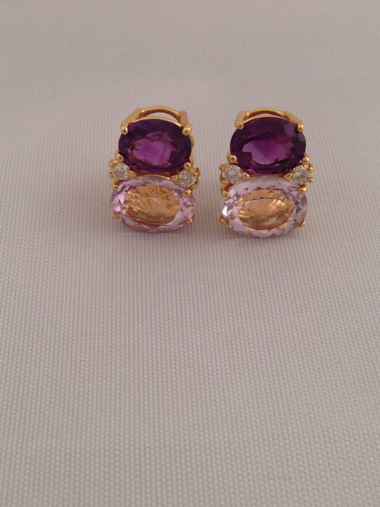 Contemporary Medium GUM DROP™ Earrings with Amethyst and Pale Amethyst and Diamonds For Sale