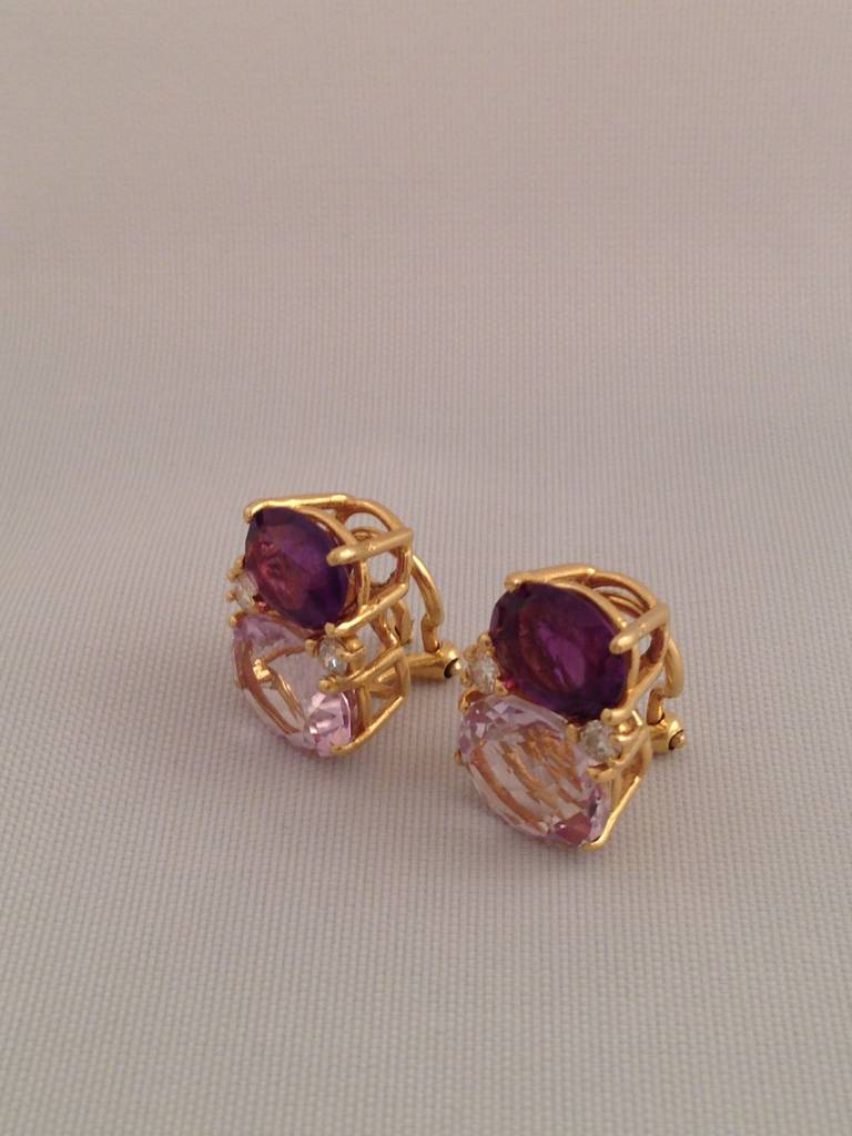 Medium GUM DROP™ Earrings with Amethyst and Pale Amethyst and Diamonds In As new Condition For Sale In New York, NY