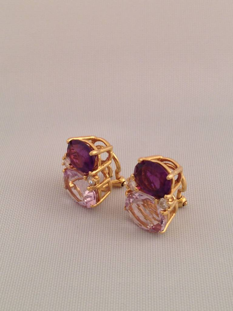 Women's Medium GUM DROP™ Earrings with Amethyst and Pale Amethyst and Diamonds For Sale