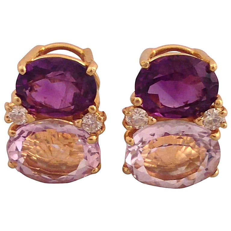Medium GUM DROP™ Earrings with Amethyst and Pale Amethyst and Diamonds For Sale