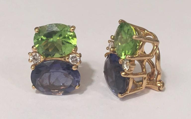 Contemporary Medium GUM DROP™ Earrings with Peridot and Iolite and Diamonds For Sale
