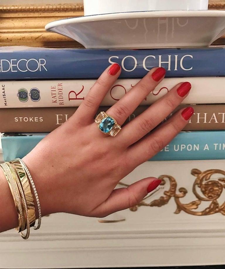 Cushion Cut Elegant Three Stone Garnet Ring with Gold Rope Twist Border For Sale