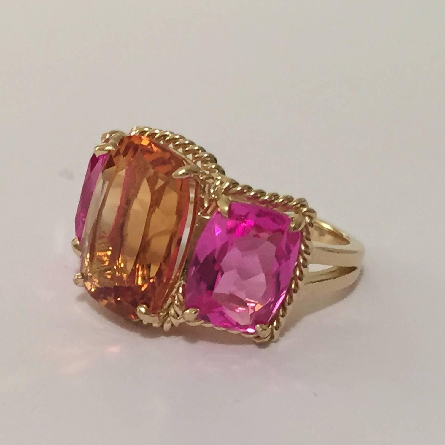 Citrine Pink Topaz Gold Three Stone Ring With Rope Twist Border For Sale At 1stdibs