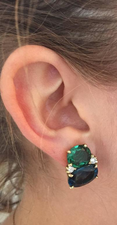 Medium GUM DROP™ Earrings with Tsavorite and Dark Blue Topaz and Diamonds 4