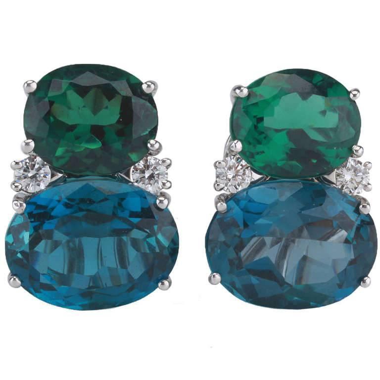 Modern Medium GUM DROP™ Earrings with Tsavorite and Dark Blue Topaz and Diamonds For Sale