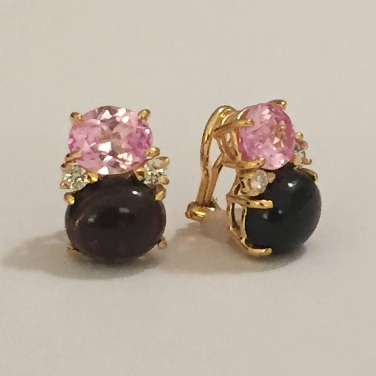 18kt Yellow Gold Large Gum Drop Earrings With Faceted Pink Topaz And Cabochon Smokey