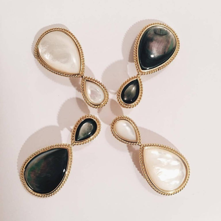 Contemporary Pear Shaped Abalone Mother-of-Pearl Gold Drop Earrings with Rope Twist For Sale