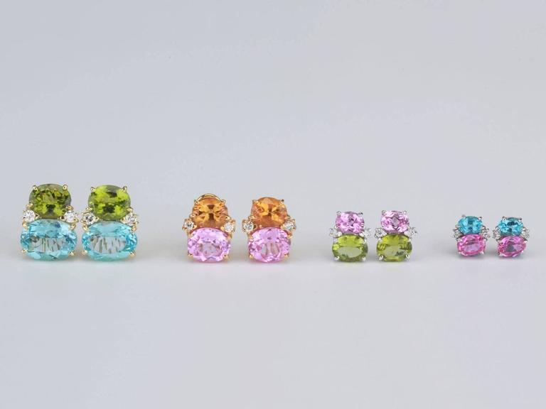 Large GUM DROP™ Earrings with Blue and Pink Topaz and Diamonds In As new Condition For Sale In New York, NY