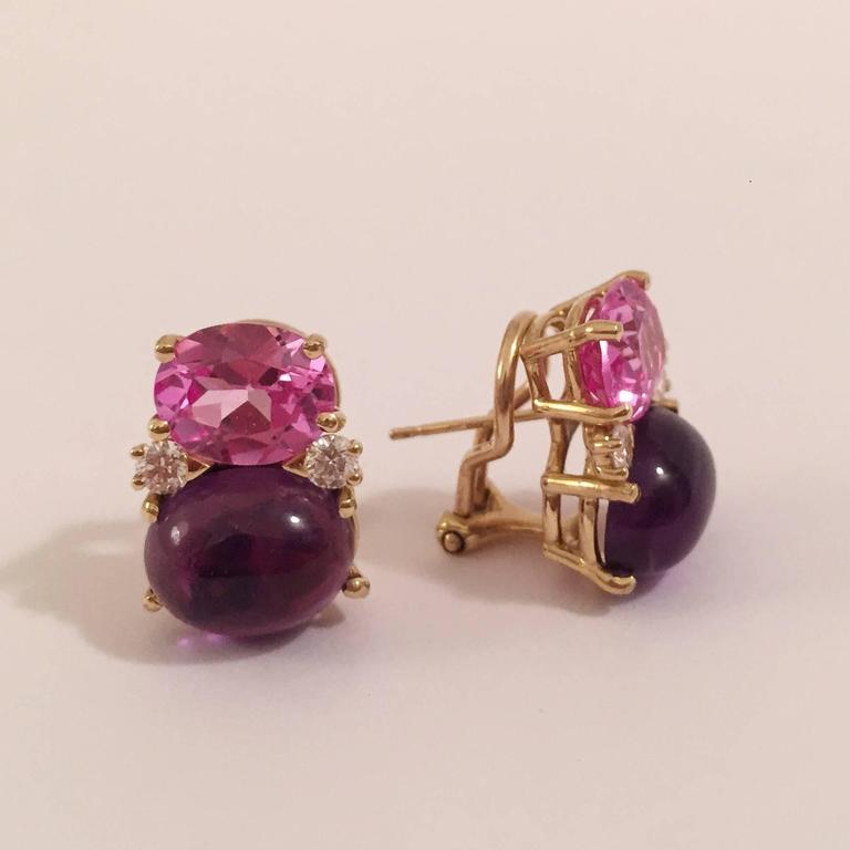 Medium 18kt yellow gold GUM DROP™ earrings with faceted Pink Topaz (approximately 2.5 cts each), cabochon Amethyst (approximately 5 cts each), and 4 diamonds weighing ~0.40 cts.   
