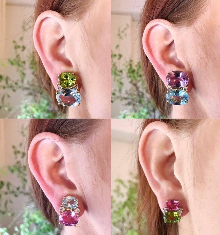 Women's Medium GUM DROP™ earrings With Pink Topaz and Cabochon Amethyst and Diamonds For Sale
