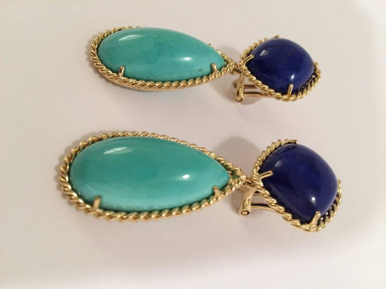 Elegant Rope Twist edged drop Earrings with Lapis and Turquoise.  The Cushion shaped Cabochon Lapis is 3/4