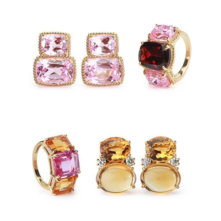 Contemporary Elegant Three Stone Ring with Gold Rope Twist Border