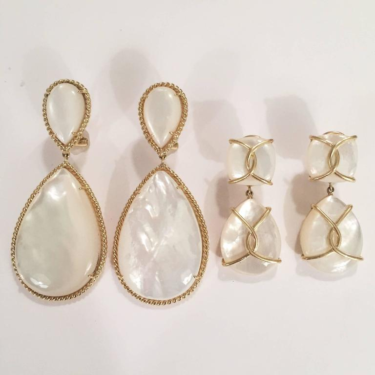 Contemporary Mother Of Pearl Drop Earrings with Twisted Gold Detail For Sale