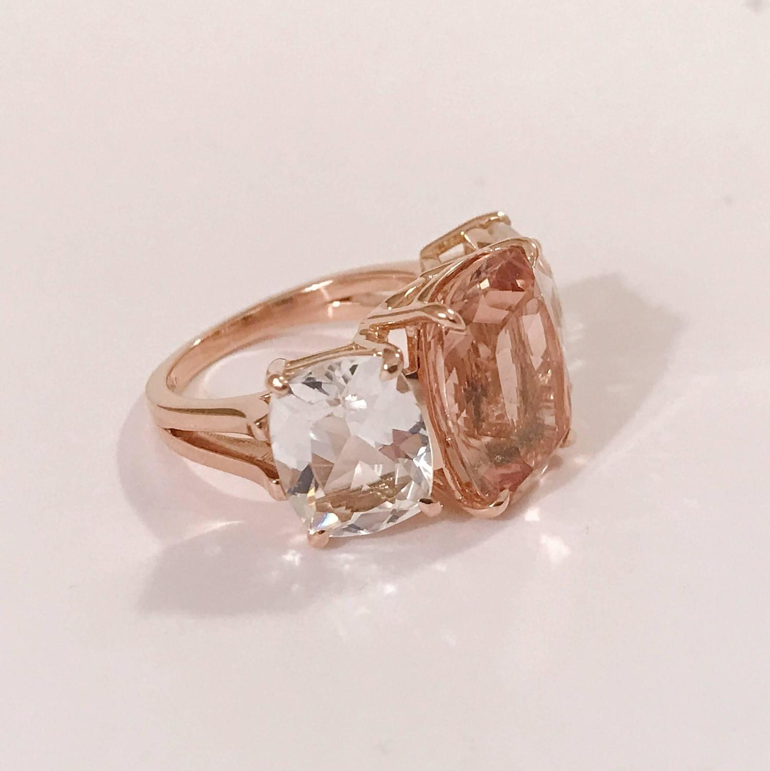 Morganite and Rock Crystal Rose Gold Three Stone Cushion Ring For Sale at 1st