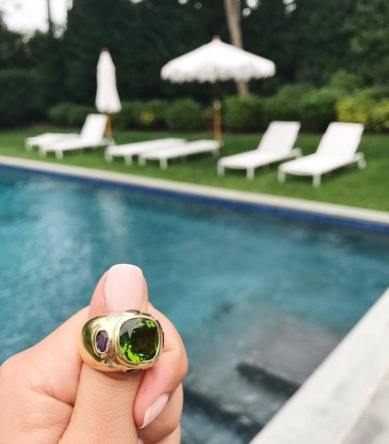 The BONHEUR Ring:  Citrine Peridot Diamond Yellow Gold Domed Ring 4