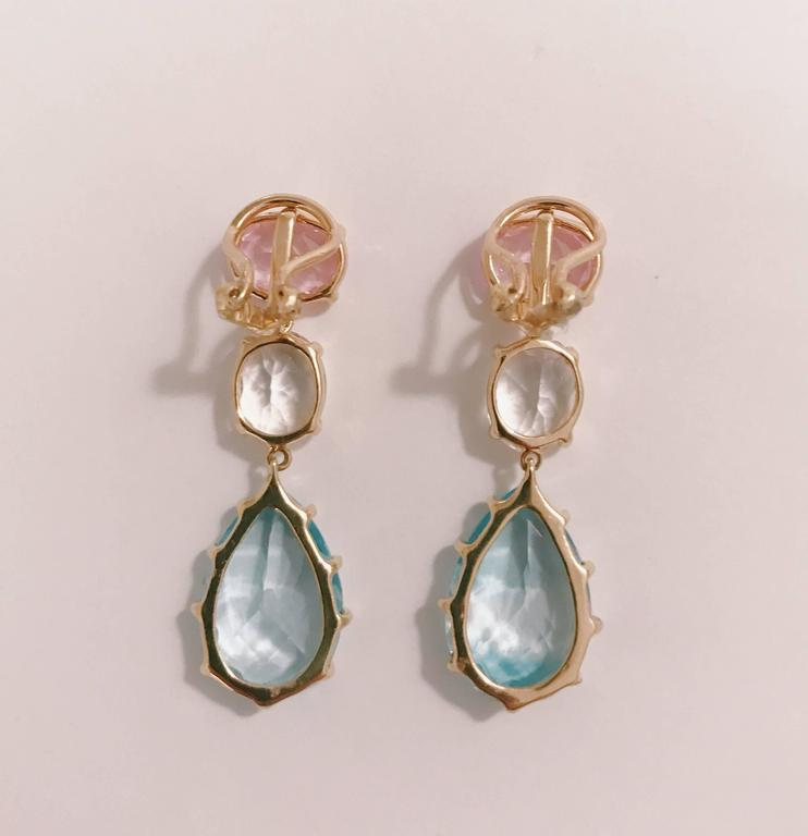 Pink Topaz Rock Crystal Blue Topaz Yellow Gold Three Stone Drop Earrings In New Condition For Sale In New York, NY