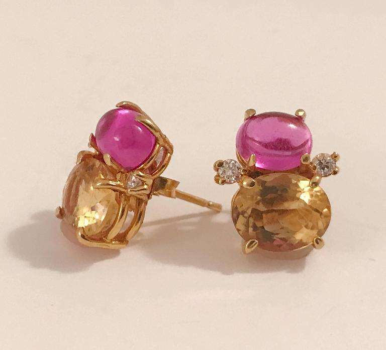 Mini GUM DROP™ Cabochon Pink Topaz and Faceted Citrine Diamond Gold Earrings 2