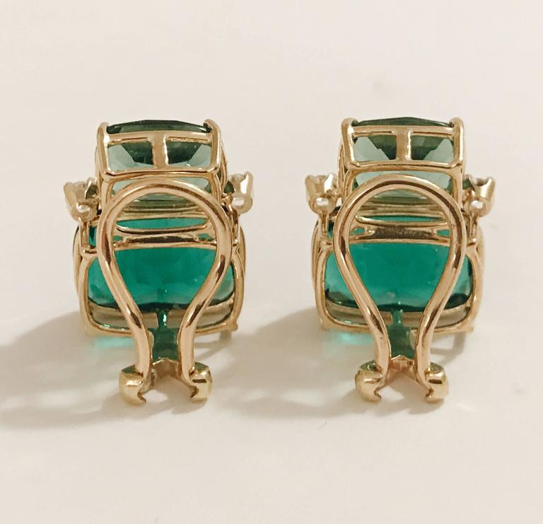 "Elegant 18kt Yellow Gold Double Cushion Green Amethyst Stone Earrings with Diamonds.    This is a classic day to evening earring that can be made clip or pierced. The meaning measures 3/4' tall and 1/2"" wide.  The Double Cushion Earring"