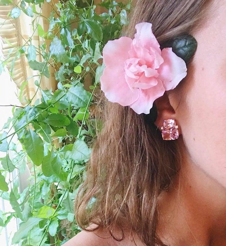 Women's Double Cushion Green Amethyst Stone Diamond Yellow Gold Earrings  For Sale