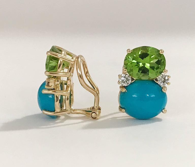 Peridot Turquoise Diamonds Medium Gum Drop Earrings  2