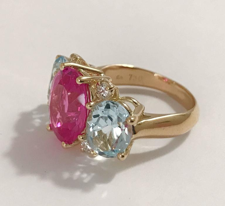 Medium GUM DROP™ Ring with Pink and Blue Topaz  2