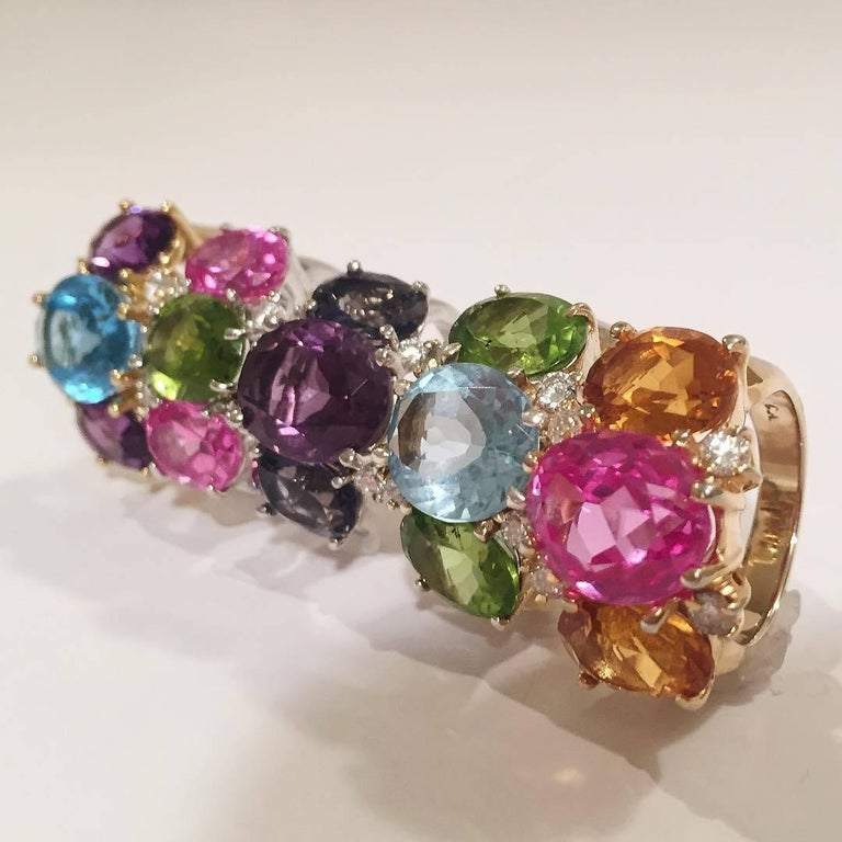Women's Medium GUM DROP™ Ring with Pink and Blue Topaz  For Sale