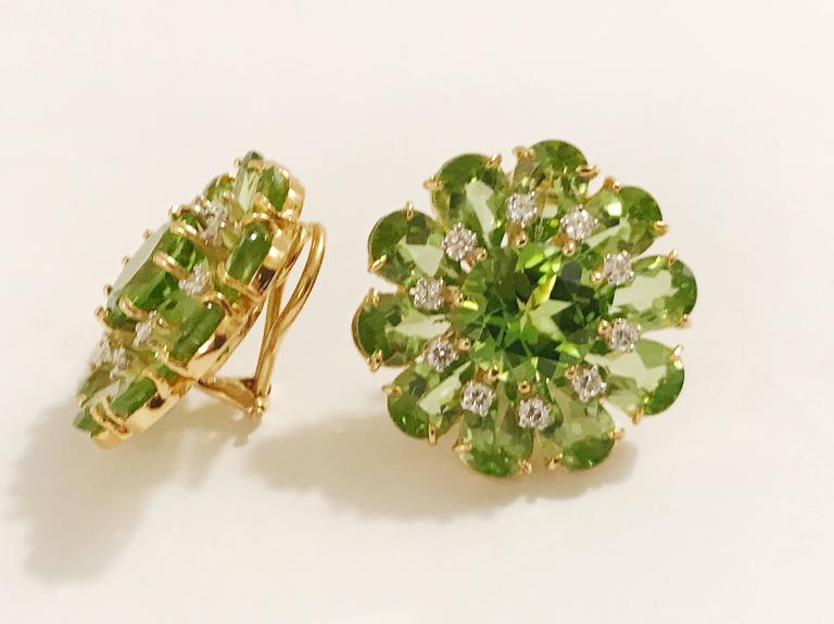 Peridot Diamonds Gold Flower Earrings 2