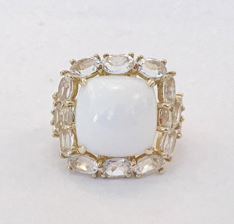"Elegant CLASSIC Cocktail Ring with large cabochon White Jade center surrounded by 18 oval faceted White Topaz adding some classic sparkle to your evening!  the ring measures approximately 1 1/4"" diameter.  The Classic Cocktail ring can be made"
