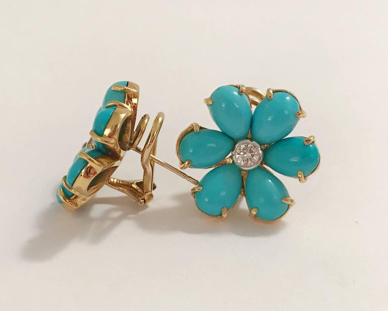 Turquoise Flower Stud Earrings with Diamond Center 2