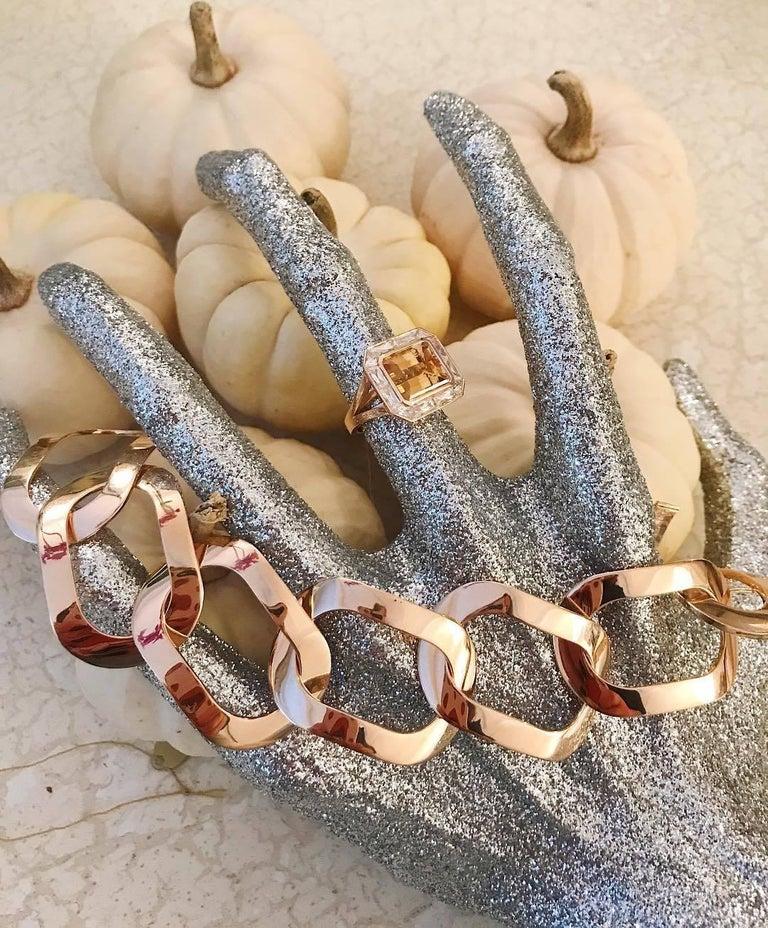 Women's 18 Karat Rose Gold Oval Link Bracelet For Sale