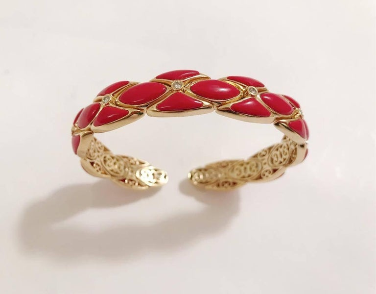 Elegant 18kt Yellow Gold Cuff Bracelet with Red Color Resin and Diamonds.  This bracelet can be made with any color resin or enamel (White etc.). In addition can be made with any color gold.  Can be made for any wrist size.  Please let me know if