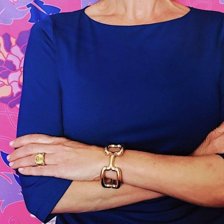 Orange Citrine Cabochon Pink Topaz Gold Cushion Ring For Sale 1