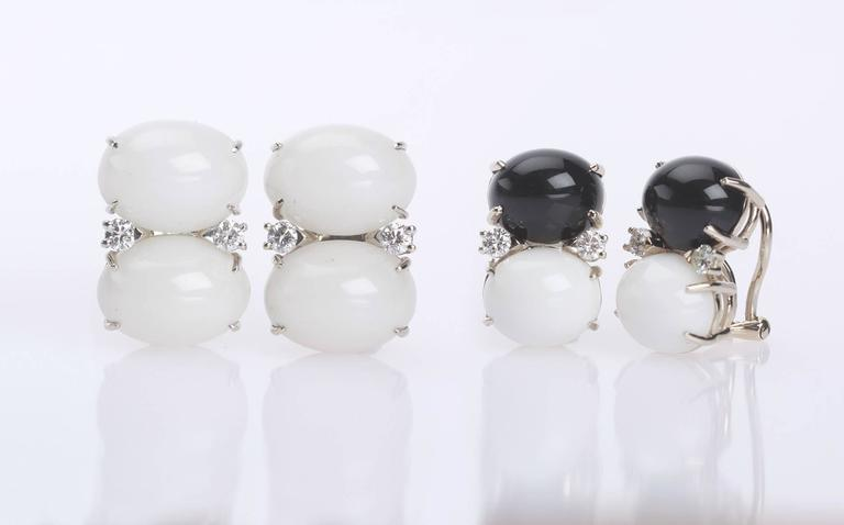 Medium GUM DROP™ Earrings with Onyx and White Jade and Diamonds 2