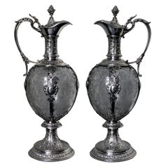 Pair of 19th Century German Silver Mounted Glass Claret Jugs
