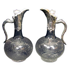 "Pair of Victorian ""Naturalism Design""  Silver Mounted Claret Jugs by Geeorge Fox"