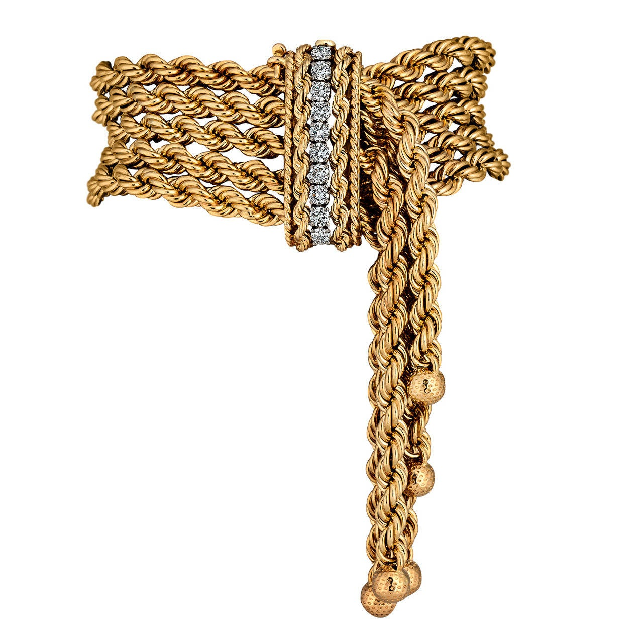 1950s Diamond Gold Rope Fringe Bracelet 1
