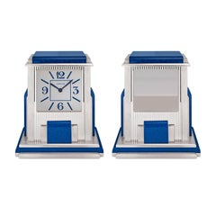 Cartier Paris Silver and Hardstone 'Mystere' Desk Clock