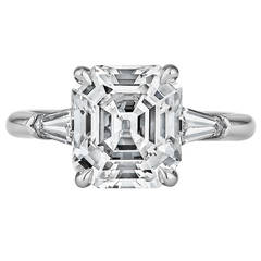 Art Deco Asscher Cut GIA Cert  3.72 carat Diamond  Engagement Ring
