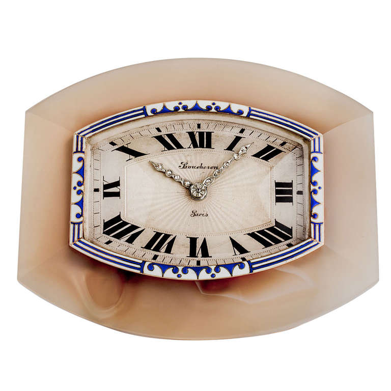 Boucheron Art Deco Enamel Diamond Silver Desk Clock For Sale