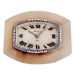 Boucheron Art Deco Diamond Agate Silver Enamel Desk Clock