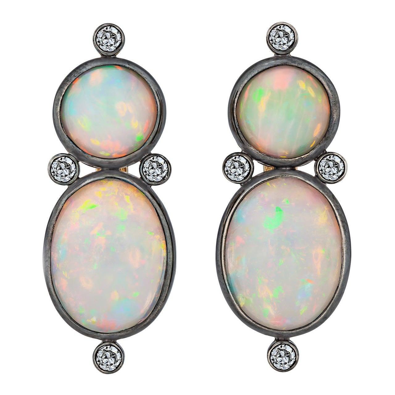 Australian White Opal Diamond Silver Gold Earrings 1