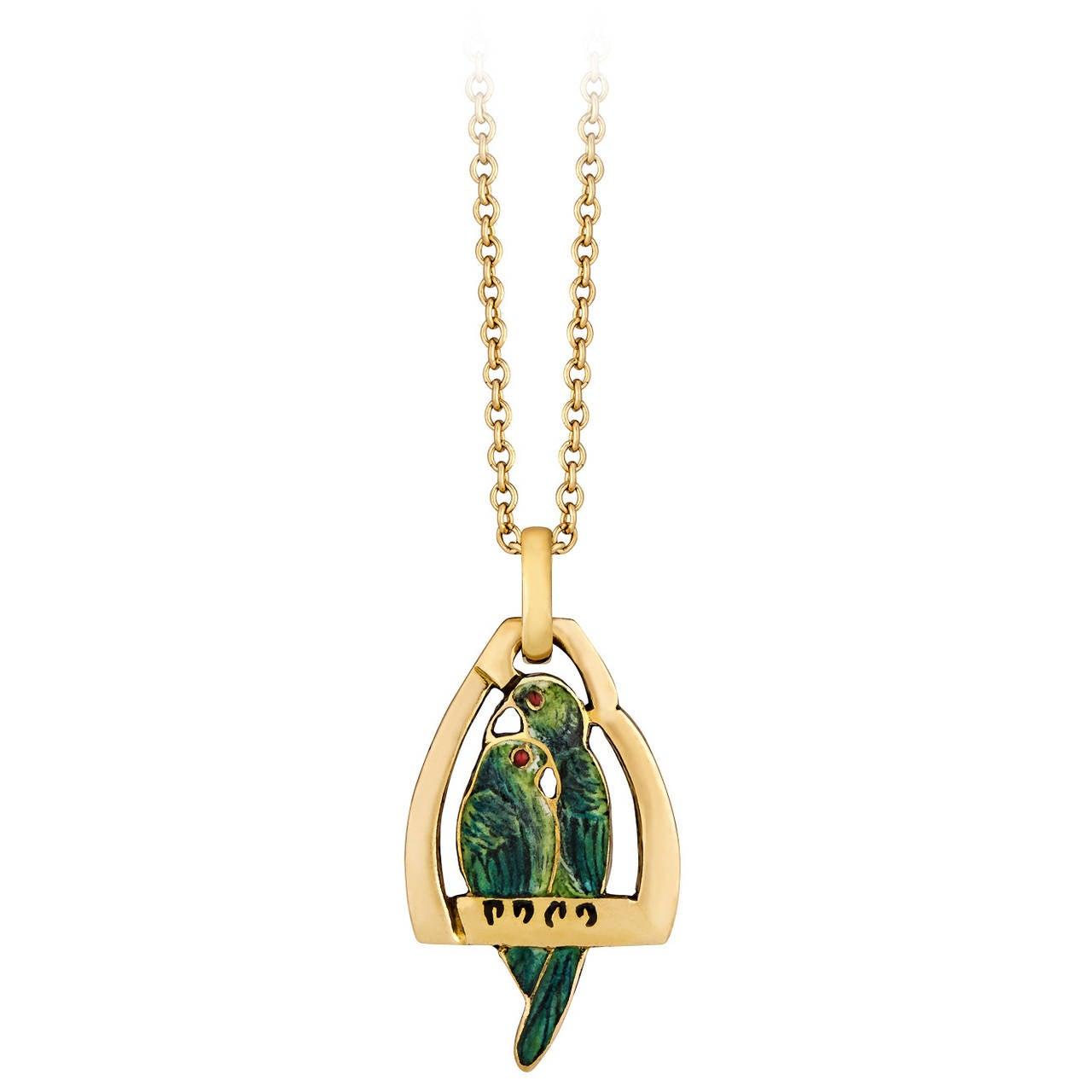 Cartier retro enamel gold love bird pendant and chain at 1stdibs cartier retro enamel gold love bird pendant and chain 1 mozeypictures Gallery