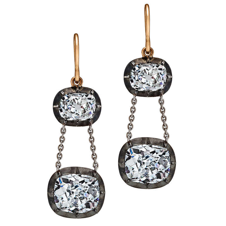 Cushion Cut Silver Diamond Gold Platinum Drop Earrings At